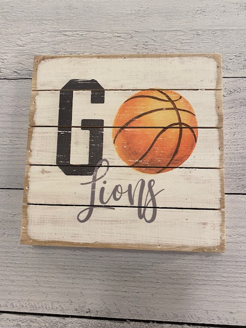 Go Lions Basketball Wood Block
