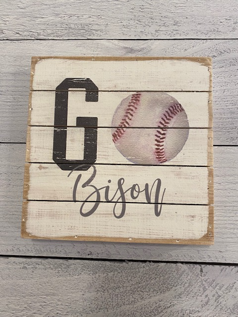 Go Bisons Baseball Wood Block