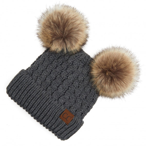 C.C Cable Knit Faux Fur Double Pom Beanie