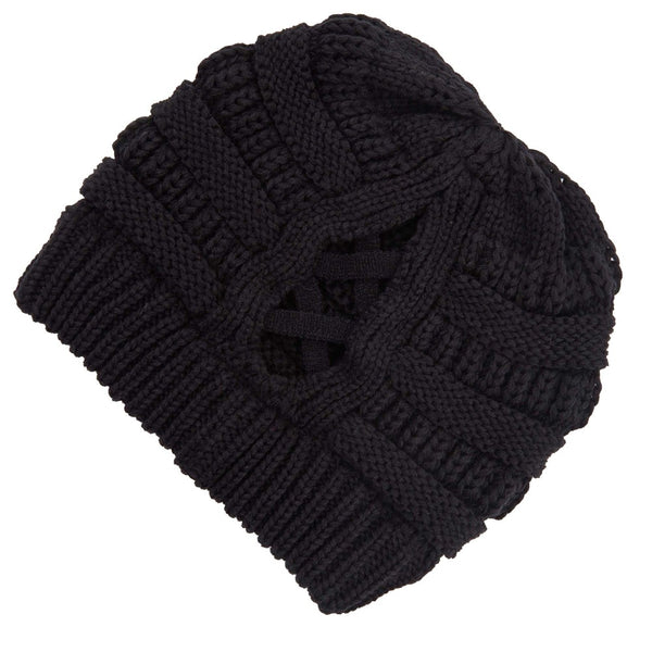 C.C. Ribbed Knit Beanie Featuring Criss-Cross Ponytail Detail.