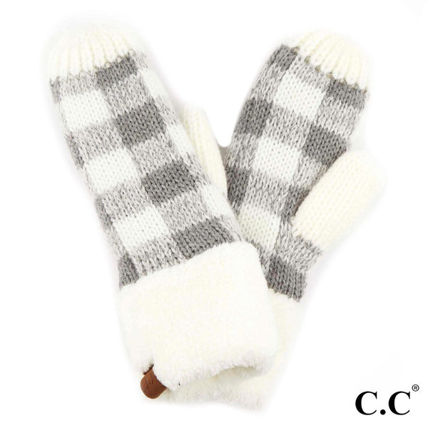 C.C. Buffalo Check Knit Mitten