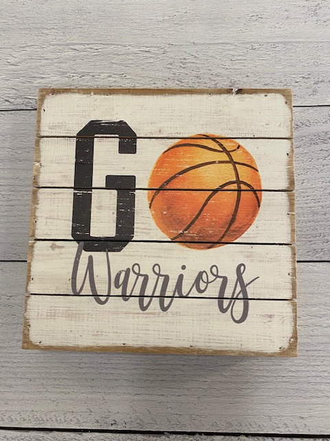 Go Warriors Basketball Wood Block