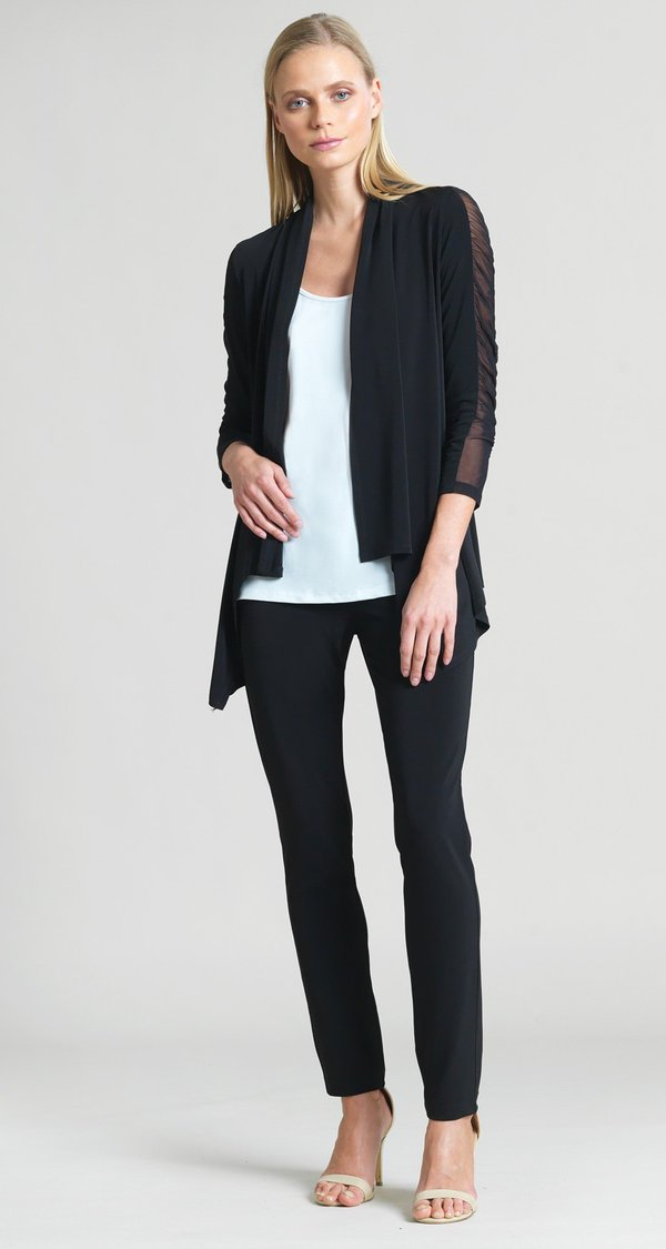 Clara Sunwoo Ruched Mesh Sleeve Cardigan - Black