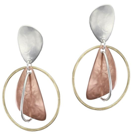 Marjorie Baer Organic Teardrop with Interlocking Rings Clip Earrings