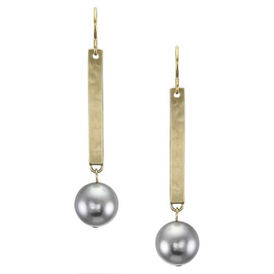 Marjorie Baer Long Rectangle with Large Grey Pearl Wire Earrings