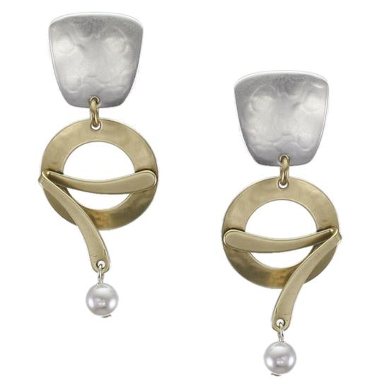 Marjorie Baer Tapered Square Silver & Gold with Pearl Clip Earrings