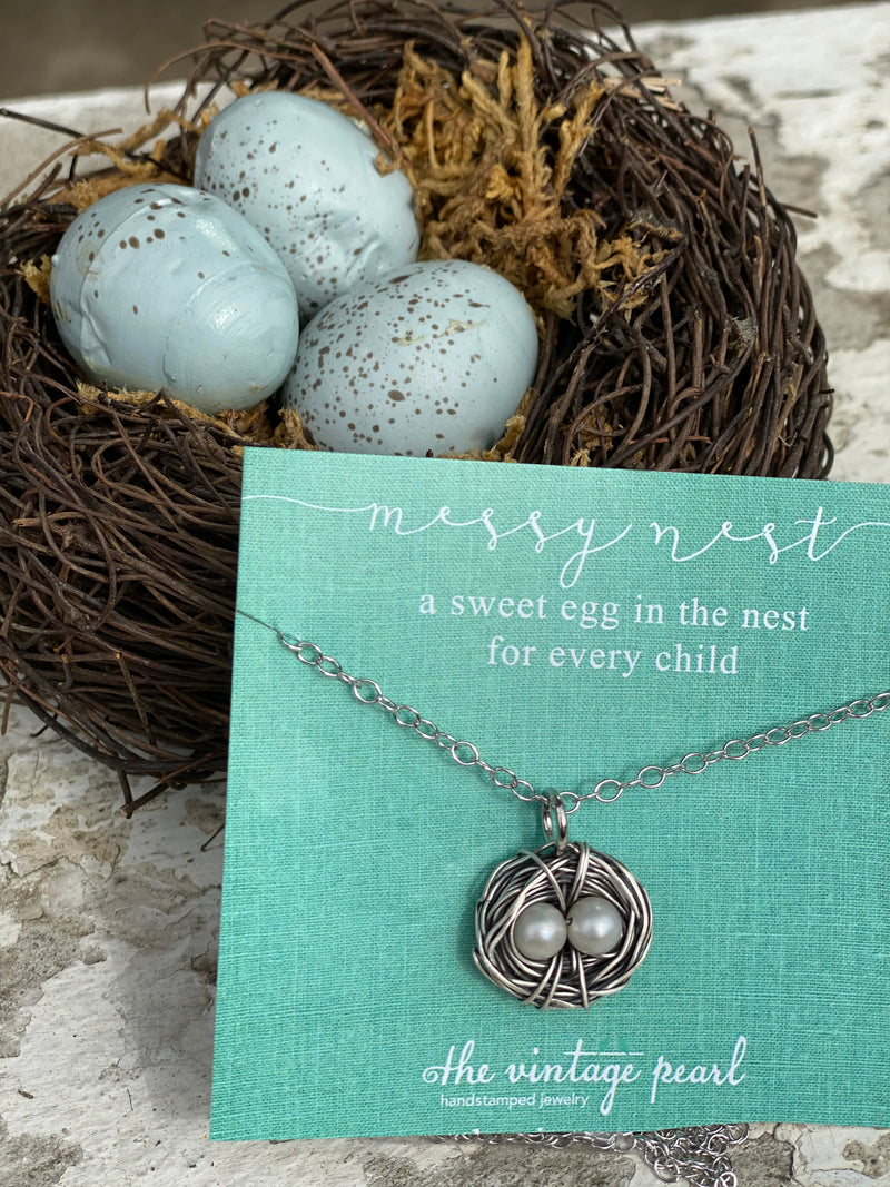 The Vintage Pearl Hand-Stamped Messy Nest Necklace from The Vintage Pearl