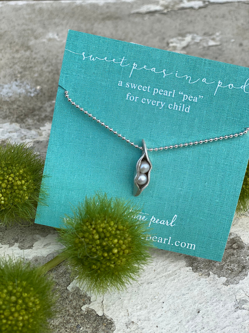 The Vintage Pearl Hand-Sculpted Mini Sweet Peas in a Pod Necklace by The Vintage Pearl