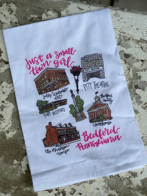 Around The Town of Bedford Tea Towel