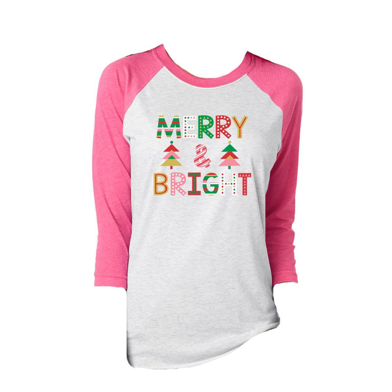 Adult MERRY & BRIGHT 3/4 SLEEVE T-SHIRT
