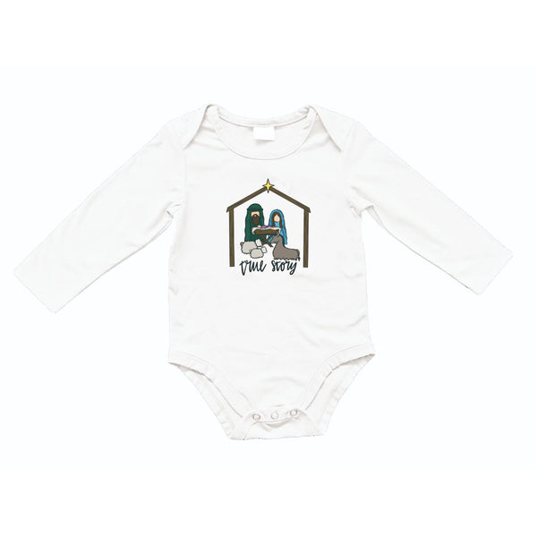 Kids True Story Heather White Long Sleeve Onesie
