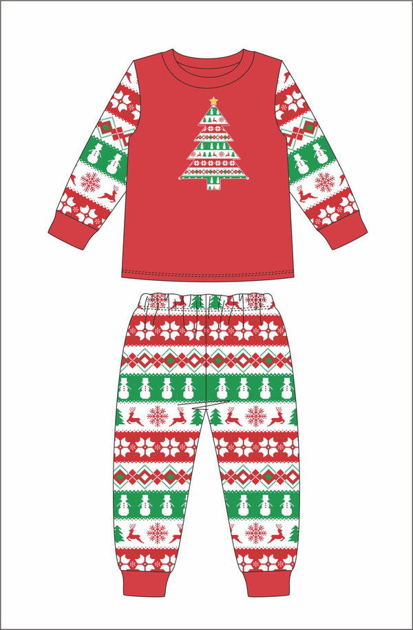 KIDS CHRISTMAS TREE STRIPE JAMMIE