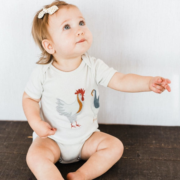 Milkbarn Appliqued One-Piece - Chickens