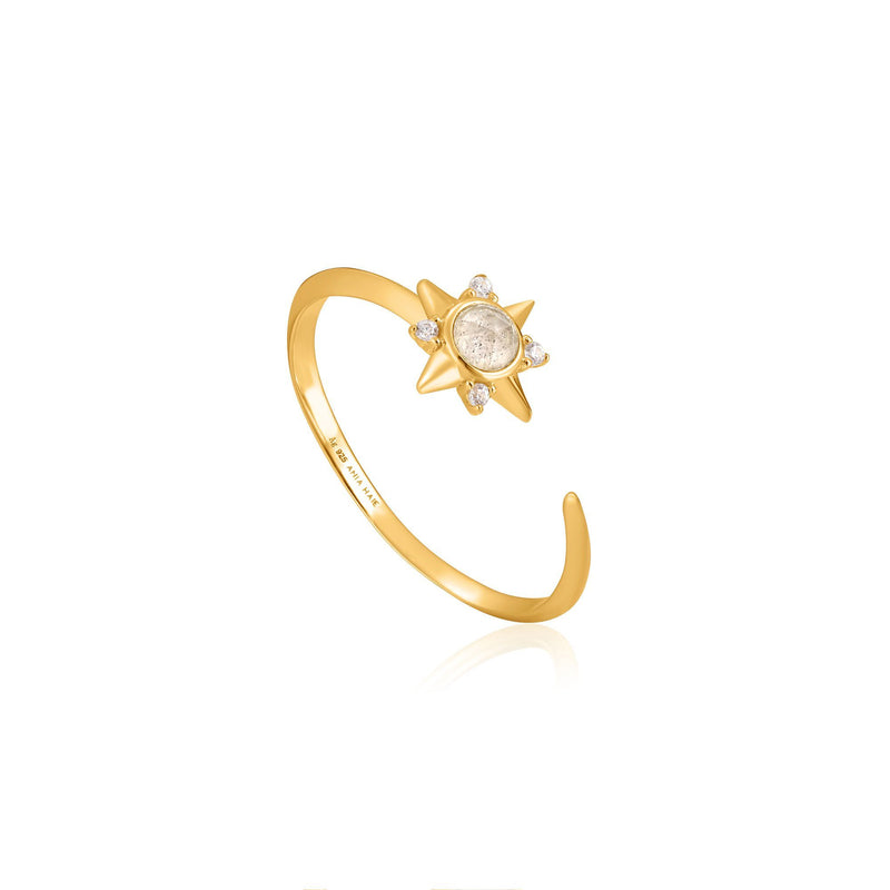 Ania Haie Gold Midnight Star Adjustable Ring
