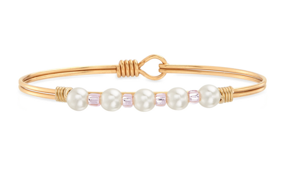 Luca & Danni Crystal Pearl with Pink Seed Bead Bangle Bracelet