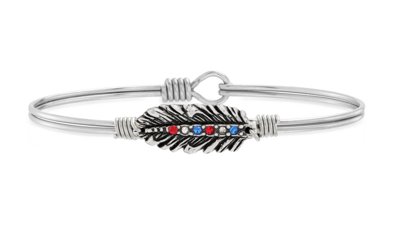 Luca & Danni Americana Crystal Feather Bangle Bracelet