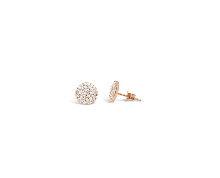 "Stia ""Pretty Party"" Earring Pavé Disk Rose Gold Stud"