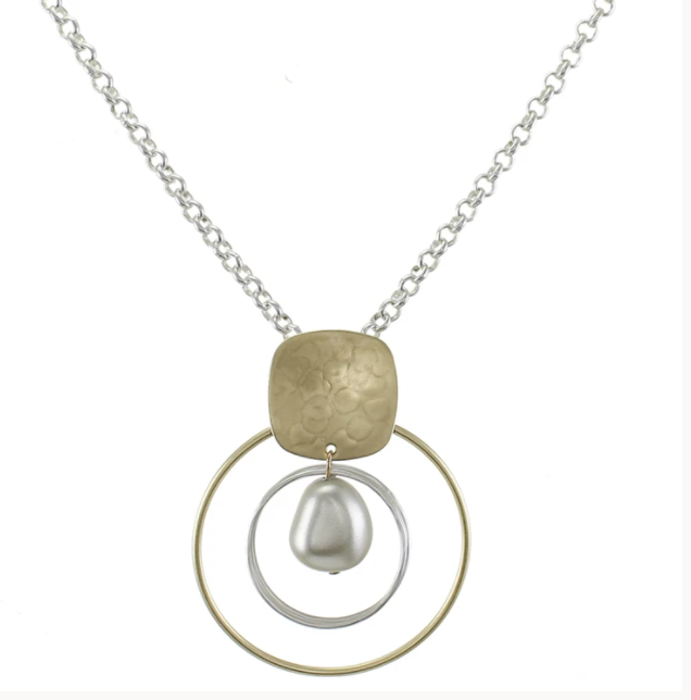 Marjorie Baer Rounded Square with Rings and Organic Grey Pearl on Chain Necklace