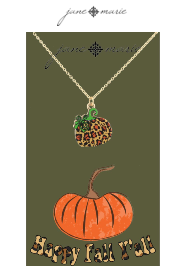 "16"" Leopard Pumpking Necklace, 3"" Ext"
