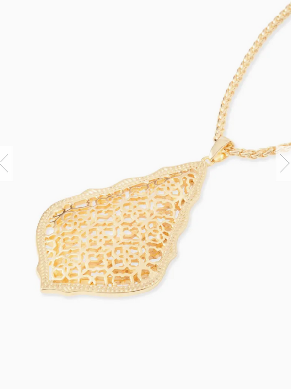Kendra Scott Aiden Gold Long Pendant Necklace In Gold Filigree Mix