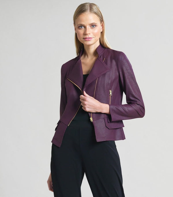 Clara Sunwoo Liquid Leather Plum Biker Jacket