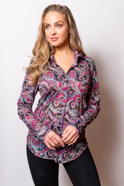 Sno Skins Paisley Button shirt with collar