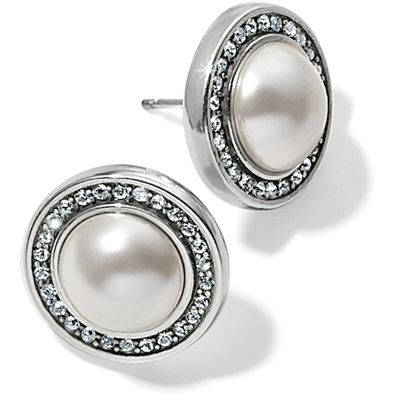 Chara Ellipse Pearl Post Earrings