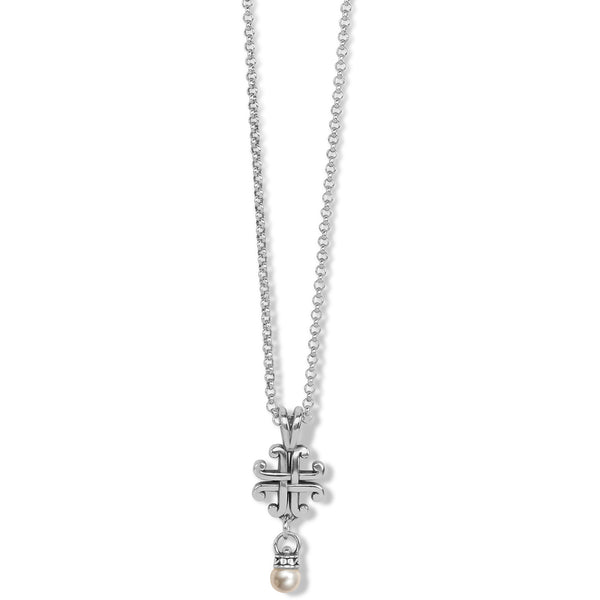 Brighton Taos Pearl Cross Mini Necklace