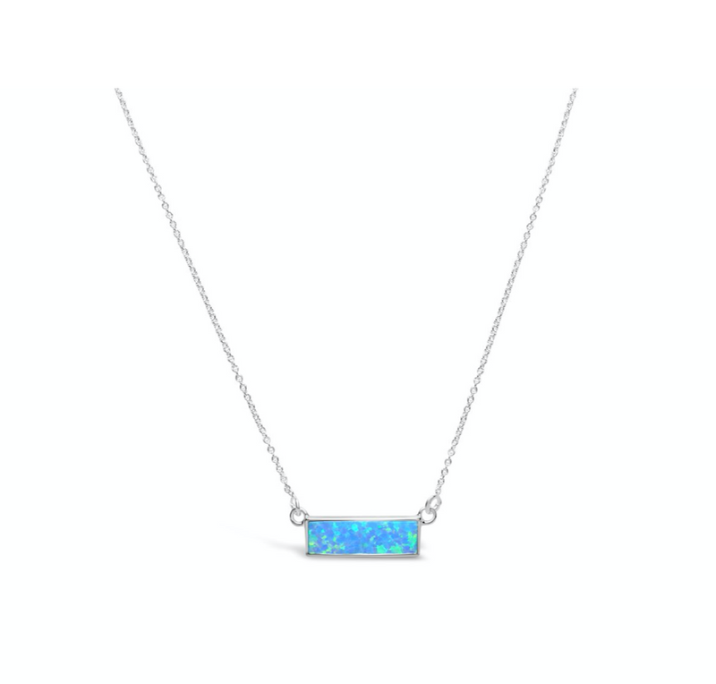 Stia Opal Bezel Bar Necklace Blue Opal