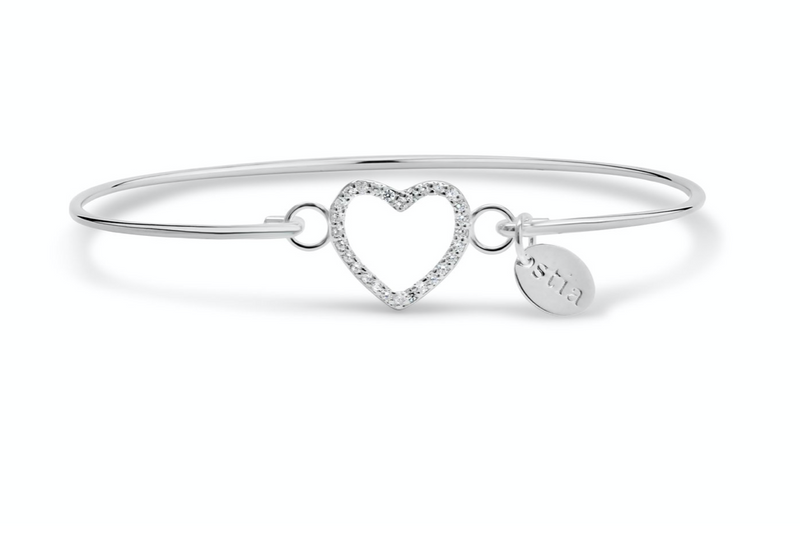 Stia Pavé Icon Bracelet Open Heart