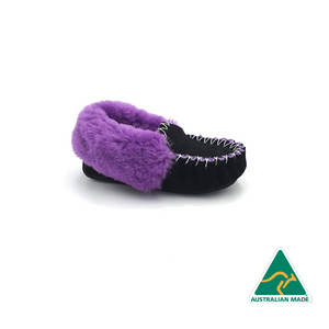 Kid's Black & Purple Moccasins