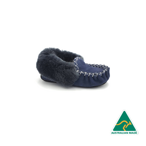 Kid's Blue & Charcoal Moccasins