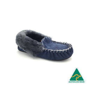 Blue & Charcoal Moccasins