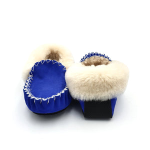 Ocean Blue & Natural Moccasins