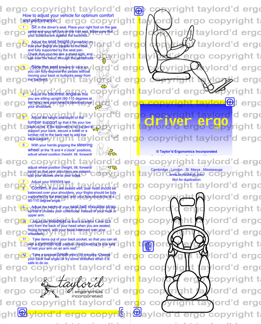 demonstration version of our driver ergonomics poster available to licence