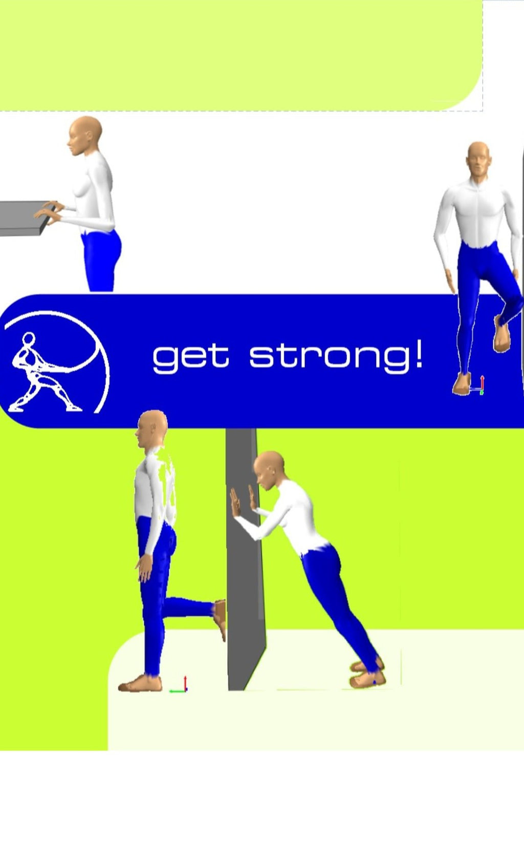 graphic showing mannequins demonstrating strengthening exercises that are promoted on the get strong poster