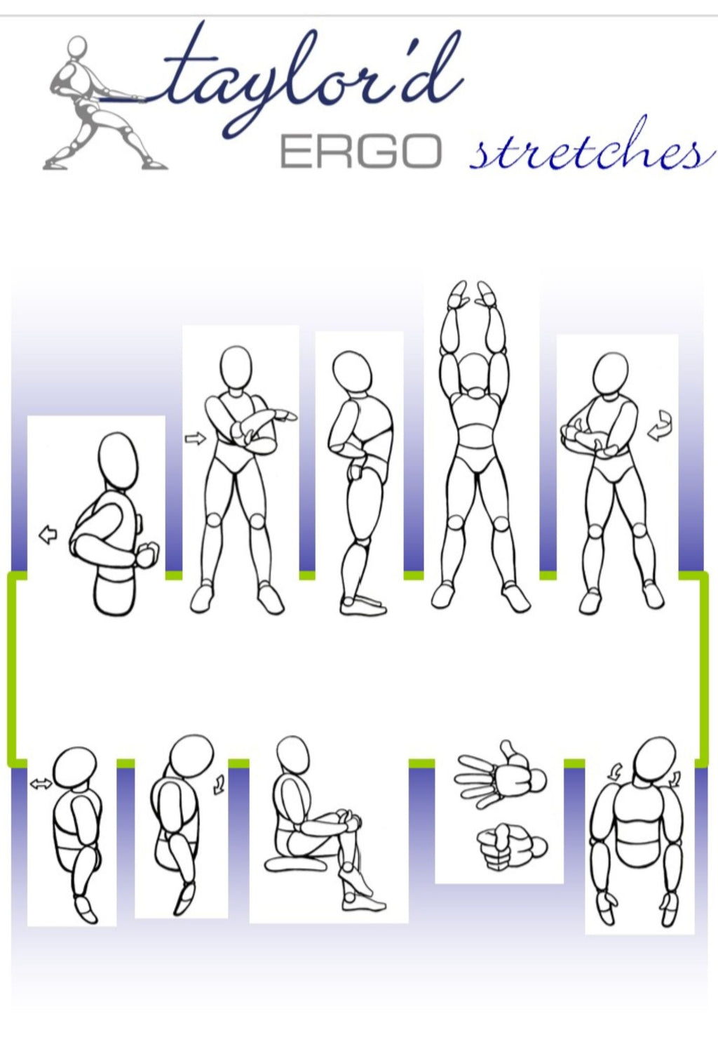 image representing a few of the stretching exercises that are included on our stretching poster available for licence