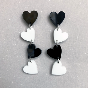B&W Heart Earrings