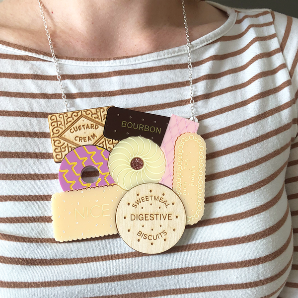 British Biscuits Statement Necklace