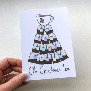 Oh Christmas Tea A6 Postcard