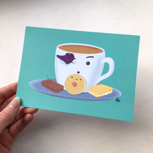 Tea & Biscuits A6 Postcard