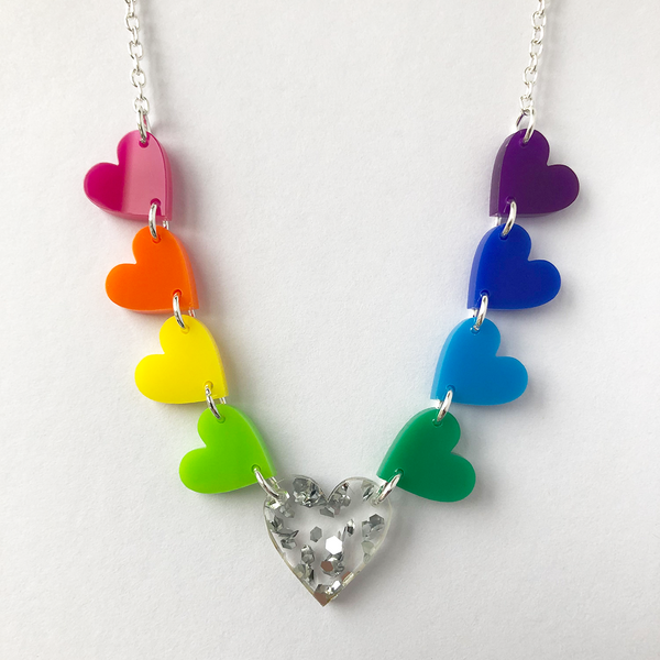 Rainbow Glitter Heart Necklace