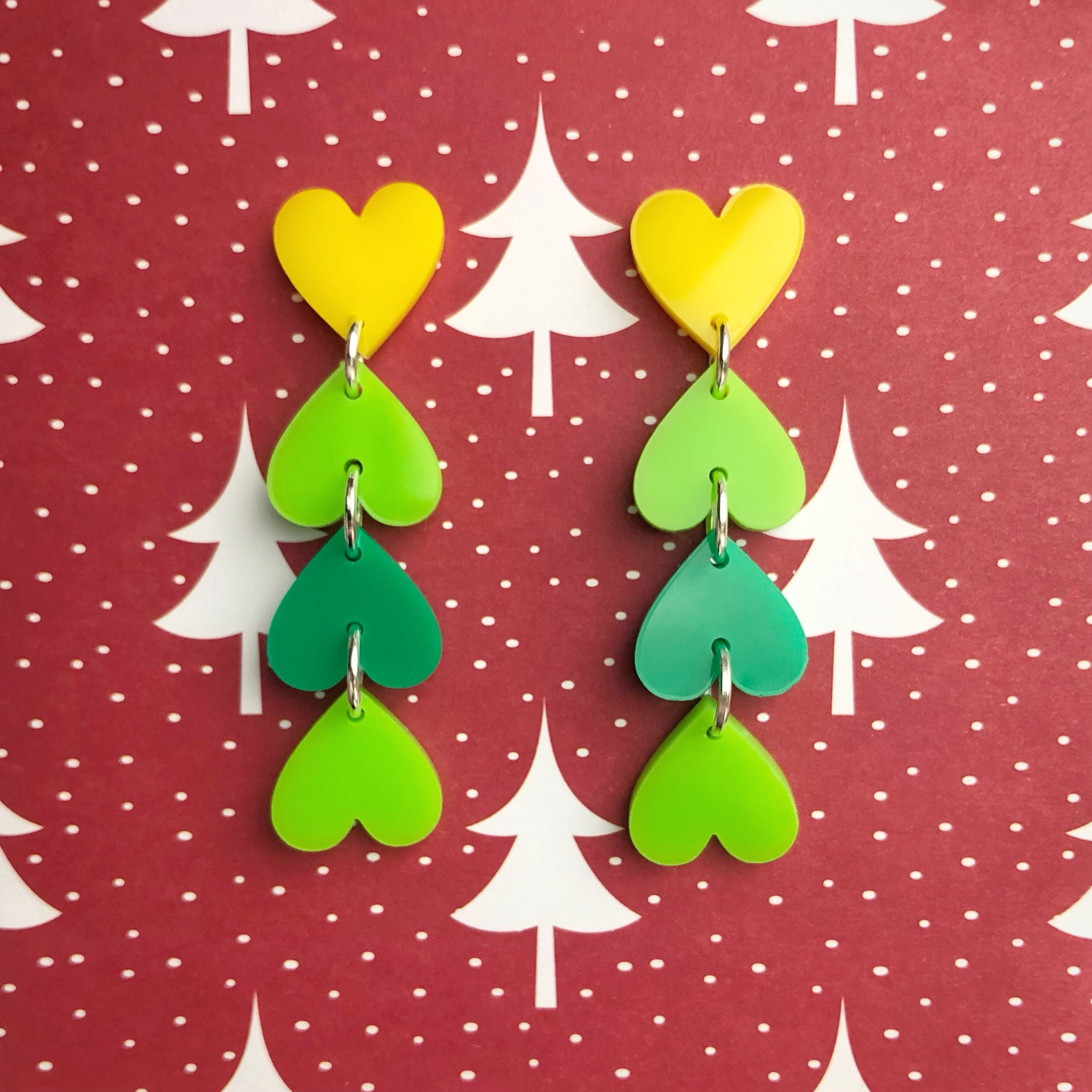 Christmas Tree Heart Earrings