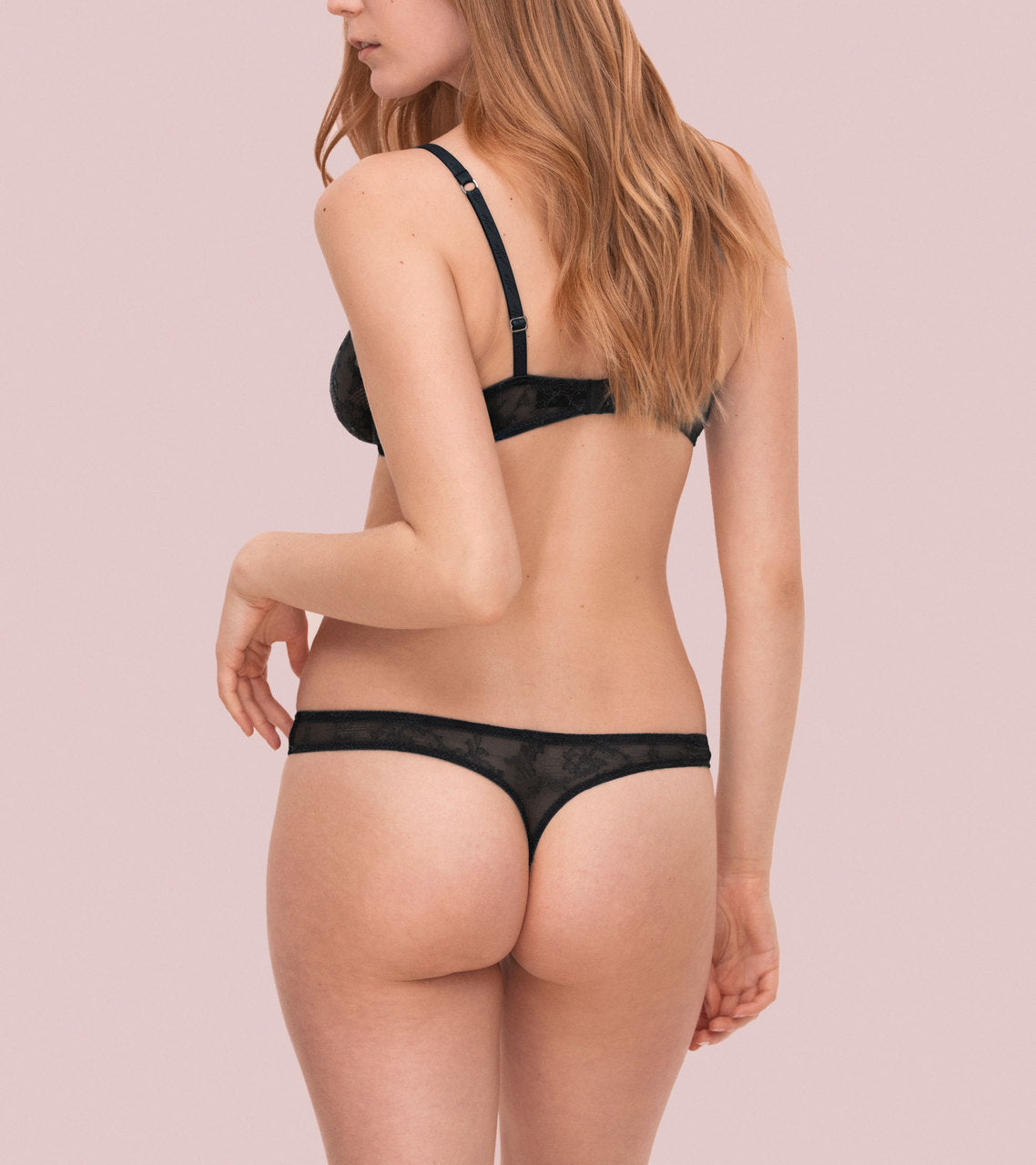 Bold Lace Thong - Peach