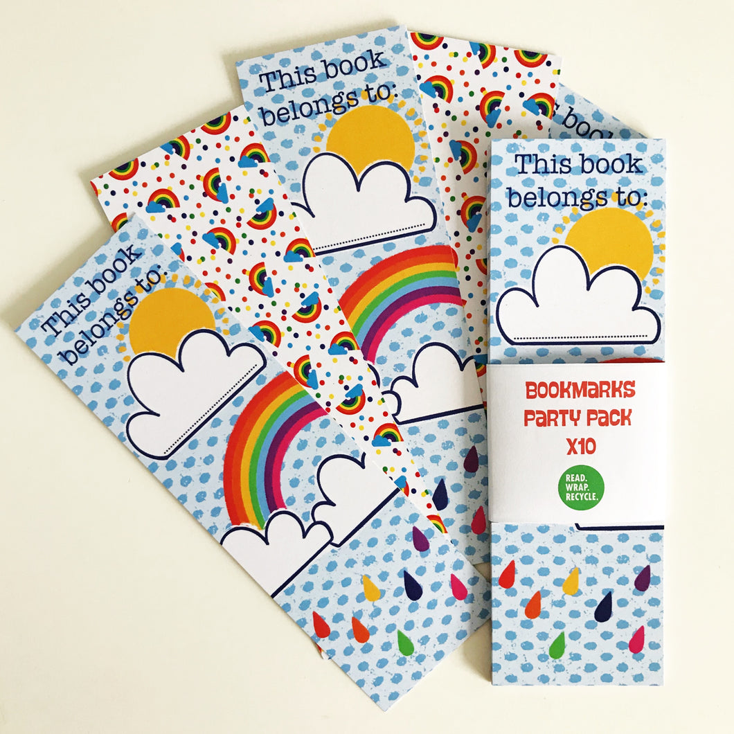 Rainbow Recycled Bookmark x10 Party Bag Pack