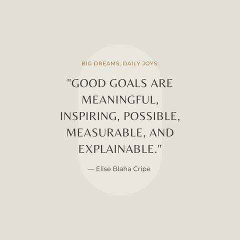 Big Dreams, Daily Joys Book Summary Set Goals. Get Things Done. Make Time For What Matters Quote 1