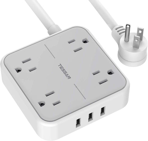 Power Strip with USB, TESSAN Mountable Flat Plug Extension Cord with 4 Widely Spaced Outlets, 3 USB Charger, 5 FT Power Cord