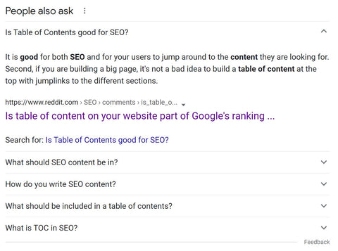Table of Contents In Featured Snippet