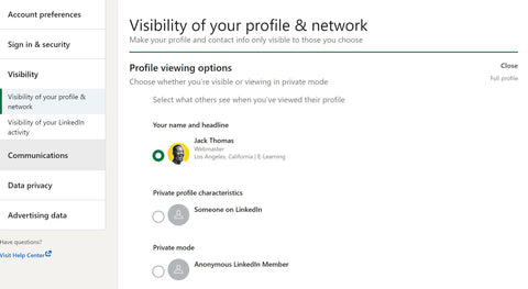 Visibility of your linkedin profile & network