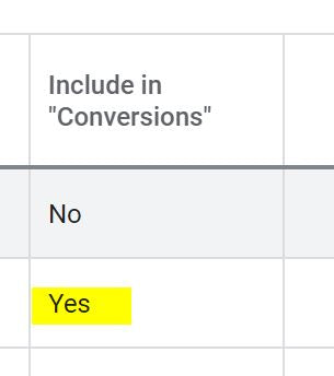 include in conversions